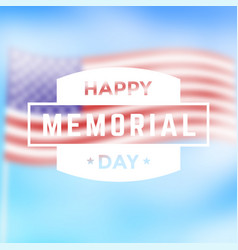 happy memorial day emblem with american flag vector image
