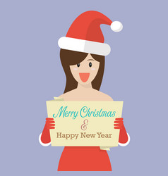 happy woman in santa claus clothes holding banner vector image