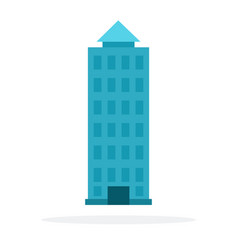 High-rise urban building flat material design vector