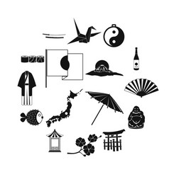 japan icons set black vector image