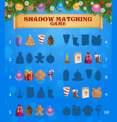 kids game shadow matching with christmas sweets vector image