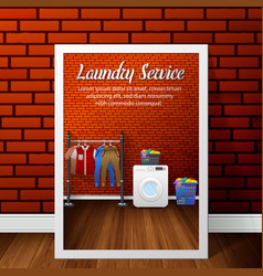 Laundry service banner design on brick wall vector