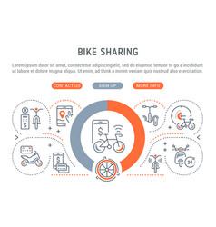 Linear banner bike sharing vector