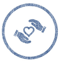 love heart care hands rounded fabric textured icon vector image