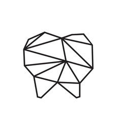 low poly dental logo design vector image