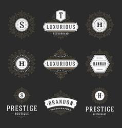 luxury logos templates set flourishes vector image