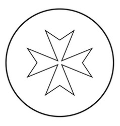 Maltese cross icon black color simple image vector