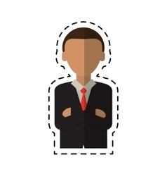 Man business crossed arms suit necktie cutting vector
