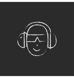 Man in a headphones icon drawn chalk vector image