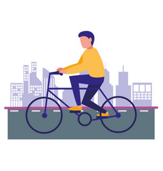 man riding bike in the city vector image