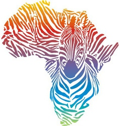 Map of Africa in rainbow zebra camouflage vector