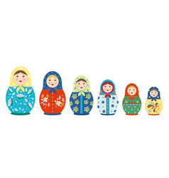 matryoshka with tracery set traditional colored vector image