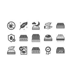 Mattress icons set memory foam breathable latex vector