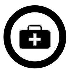 medical case icon black color in circle vector image