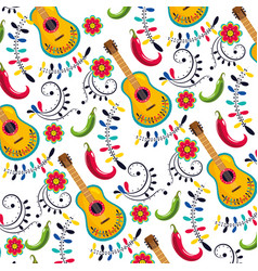 Mexican guitar with flowers decoration background vector