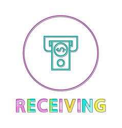 money receiving process color vector image