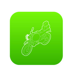 Motorcycle with cargo icon green vector