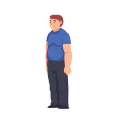 Obesity young man standing at bus stop guy vector