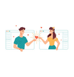 Online dating and communication via video call vector