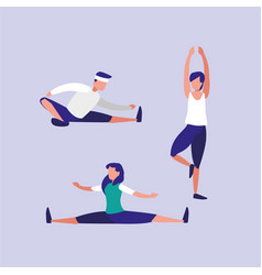 People praticing stretching avatar character vector