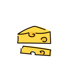 piece of cheese isolated simple sketch pen style vector image