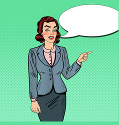 pop art businesswoman pointing on copy space vector image