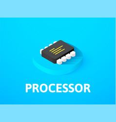 Processor isometric icon isolated on color vector