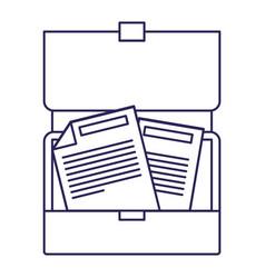 Purple line contour of opened executive briefcase vector
