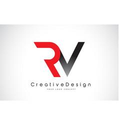 Red and black rv r v letter logo design creative vector