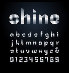ribbon font alphabet with silver effect letters vector image