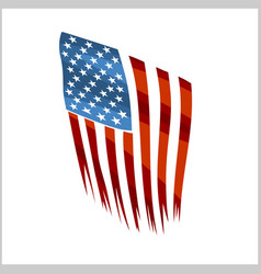 Ripped us flag on white background national vector