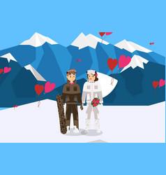 Romantic couple spending honeymoon at ski resort vector