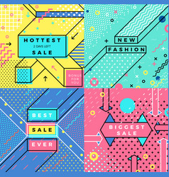 set - bright abstract memphis style banners vector image