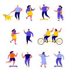 set flat people performing summer vector image
