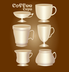set of 3d ceramics or porcelain cup without vector image