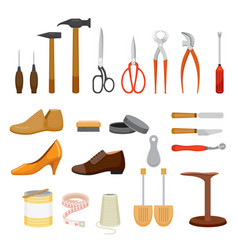 Set of shoes repair tool and shoes accessories vector