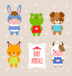 Set with cute animals in cartoon style vector