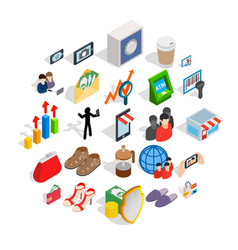 Shopping icons set isometric style vector