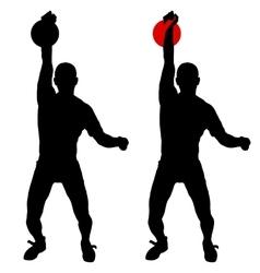 Silhouette muscular man holding kettle bell vector
