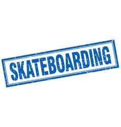 Skateboarding blue square grunge stamp on white vector