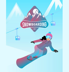 Snowboarding of a female character vector
