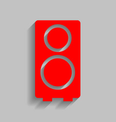 speaker sign red icon with vector image