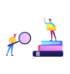 student with magnifier and student standing on vector image