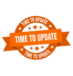 Time to update ribbon time to update round orange vector