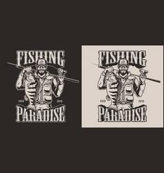 Vintage fishing emblem vector