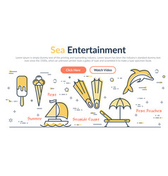 webpage about sea holidays in vector image