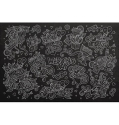 Wedding and love doodles hand drawn chalkboard vector image