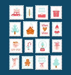 Winter holidays decorative post stamps set vector image