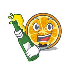 with beer orange mascot cartoon style vector image