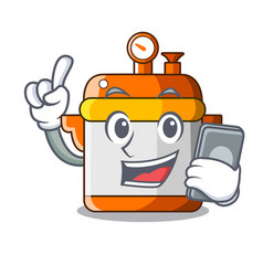 With phone character cartoon modern cooker for vector